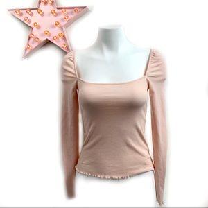 Light Pink Blush Square Neckline Long Sleeve Top